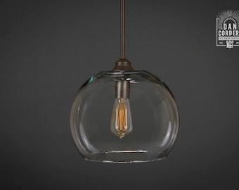 Pendant Light Fixture | Edison Bulb | Oil Rubbed Bronze | Pendant | Kitchen Light | Pendant Light |  Edison Light Bulb | XL Globe Shade