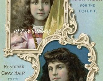 1800s  VictorianTrade Card Ayres Hair Vigor Restores Gray Hair  #409-AW