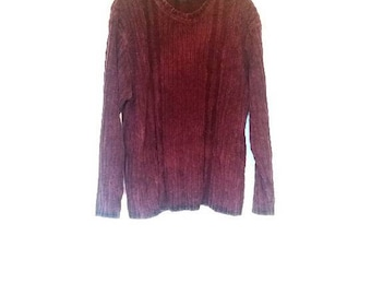 Chenille Sweater Vintage Burgundy Chenille Jumper Vintage Knit Sweater Red Chenille Women's Large Sweater Knitwear Pullover Burgundy