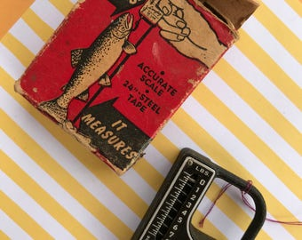 Vintage fish scale, Weigh,Measure, Tape measure,Langley fisherman,Pocket size,Collectable,Box