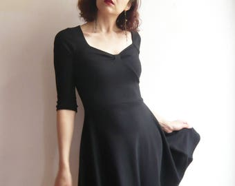 Black short dress in cotton jersey