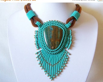 15% SALE Bead Embroidery Necklace Pendant Beadwork with Blue Lace Chalcedony - Statement necklace - TURQUOISE DAY - turquoise - brown