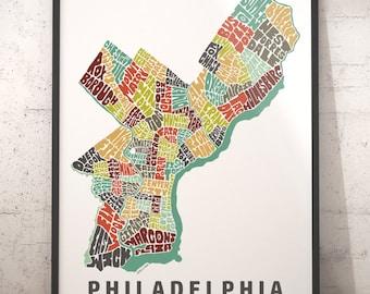 Philadelphia map art, Philadelphia  art print, Philadelphia  typography map, map of Philadelphia , Philadelphia neighborhood map with title
