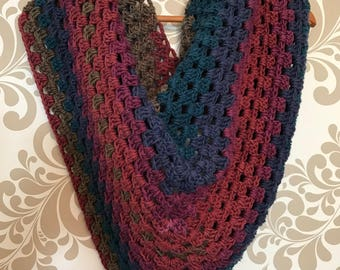Jewel toned v-scarf/shawl