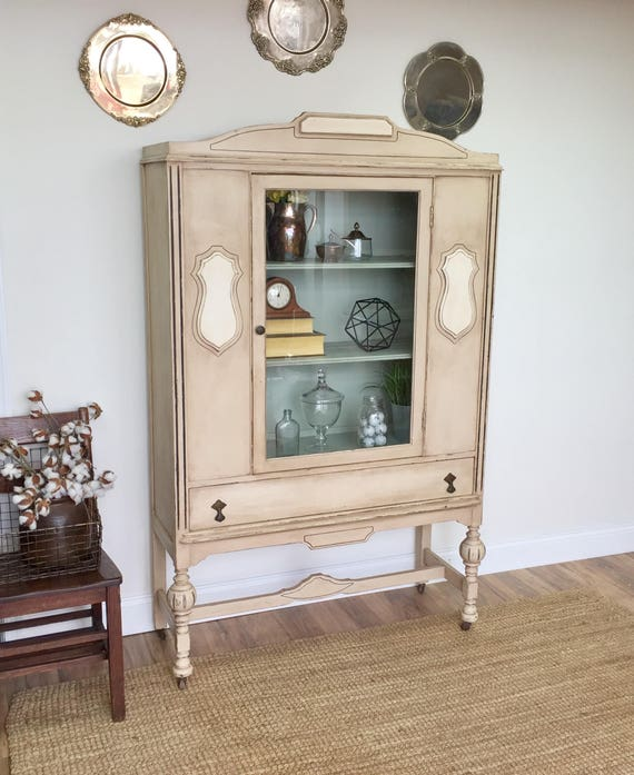 Antique China Cabinet - Dining Room China Cabinet - Country Cottage Furniture - Linen Cupboard - Display Cabinet - Entryway Cabinet