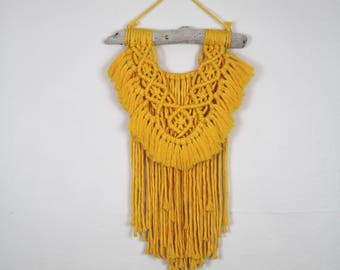 Medium- Macrame Wall Hanging/Weaving/Tapestry/Wall Hanging/Macrame Decor/Wall Art/Wall Decor/yellow