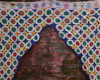Crotchet toran Handmade home decor vintage Indian temple door window frame tribal textile hippie boho bedroom decor style glamping festival