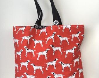 Fire Dog - Doggie Diva Market Bag - Dalmatian Dog Bag - Dog Daycare Bag - Dog Park Tote Bag - Cotton Tote Bag