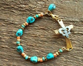 Turquoise Bracelet, Cross Bracelet, Cowgirl Jewelry, Southwest Jewelry, Bohemian Jewelry, Beaded Bracelet, Boho Bracelet, Layering Bracelet