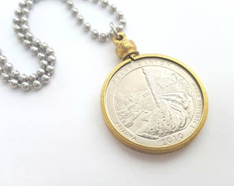 Grand Canyon Quarter Coin in Vintage Brass Holder Necklace with Stainless Steel Ball Chain - 2010 USA State Quarter - National Park Quarter