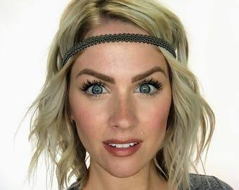 The Ashley - Olive Boho Forehead Headband