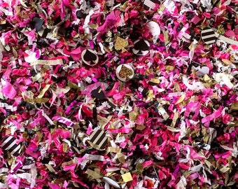 Kate Spade Inspired Confetti Mix / Fuchsia, Black, Gold, White, Black/White Stripes, Spade Shapes