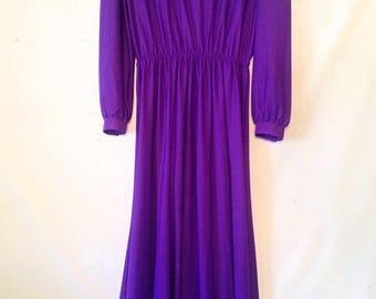 plus size dress purple dress vintage dress 1980s VTG 80s xl plus size clothing purple party dress purple dress long sleeve purple dress