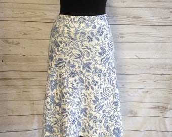 White and Blue Floral Print A-line Midi Skirt