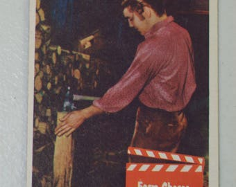 Antique  1956 Elvis Presley Trading Card Love Me Tender Movie Farm Chores, No. 48 Bubbles Inc.