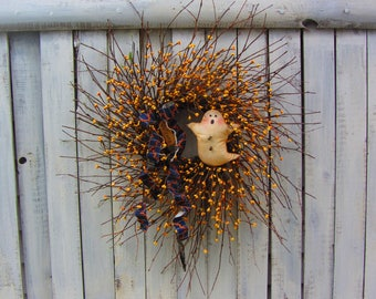 Fall Wreath - Autumn Wreath - Fall Door Wreath - Halloween Wreath - Ghost Wreath - Berry Wreath - Primitive Country Wreath - Wreath
