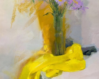 Still Life Painting with Flowers, Canvas Painting, Original Oil Painting in Yellow and Lilac