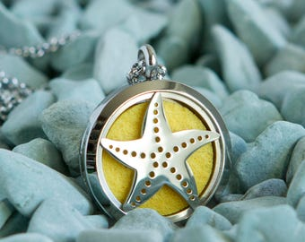 Stainless Steel Oil Diffuser Necklace - Starfish - Seaside Collection