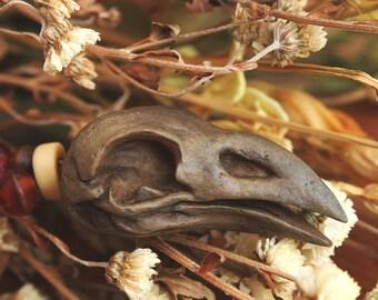 Bird Skull Pendant Necklace - Witch Pagan Shaman - Faux Vegan