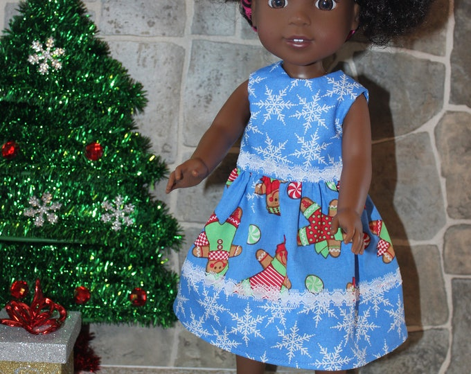 Blue Christmas Print Dress,Ribbon, Sandals made to fit the likes of Wellie Wisher and other 14.5 inch dolls, FREE SHIPPING