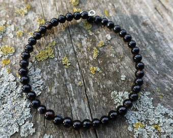 Onyx & Black Striped Agate Bracelet