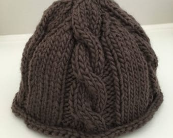Baby Hat - Organic Baby Hat - Organic Hat - Cable Newborn Hat - Knitted Baby Hat - Photo Prop