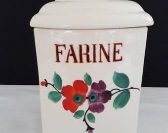 "Spice jar has ""flour"" earthenware of Sarreguemines vintage 30s"