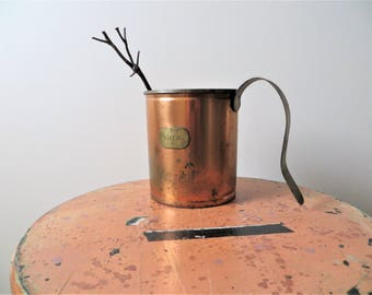 "70s Copper Container with Handle ""Liter"" Distressed Rustic French Country Garden Planter Decor"