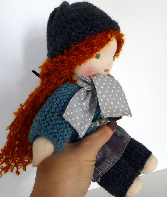 Little Waldorf doll - 25 cm - organic cotton - red hair - hand made - made in France