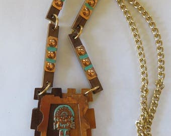 Vintage 1950'5/1960's wood/copper Mexican ethnic Aztec inspired necklace ethnic Southwest midcentury mod