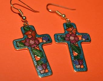 Vintage Earrings Turquoise  Enamel Cloisonne Cross Flower Flowers