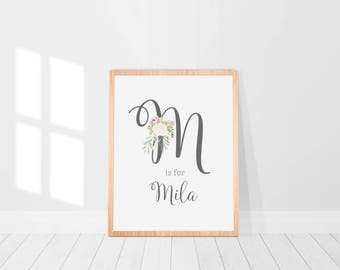 Floral Baby Girl Nursery Monogram - Custom Art Prints - Baby Girl Initial and Name - Hand Drawn Watercolour Floral Bouquet - Cream & Blush