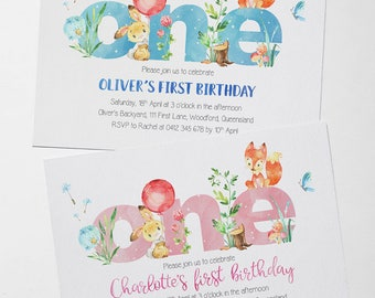 Digital Invitation | Fox and Bunny Birthday | First Birthday | One | Custom | Personalised | Birthday Invitation