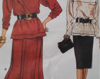UNCUT and FF Pattern Pieces Vintage Vogue 9771 Sewing Pattern Top and Skirt