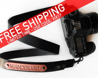Black Leather Camera Strap, Personalized Custom Camera Strap with Personalized Name, Photographer Gift for dslr and slr