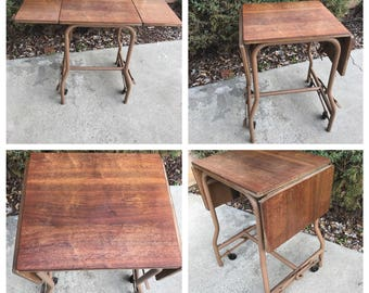 Industrial Wood Top Typewriter Table Drop Leaf Metal and Wood Typewriter Table Stand on wheels