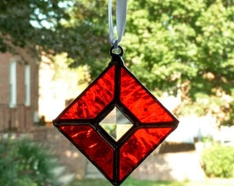 Stained Glass Ornament Suncatcher, Christmas Tree Ornament, Red Bevel Ornament, Christmas Suncatcher, Holiday Decoration, Christmas Gift