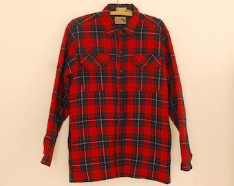 Red Plaid Wool Jacket - 1980s