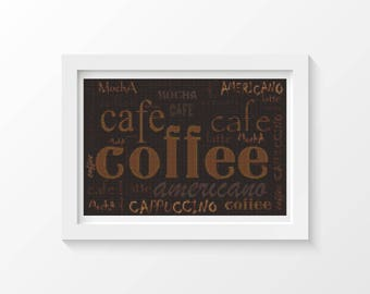 Coffee Cross Stitch Chart, Coffee Menu Cross Stitch Pattern PDF, Art Cross Stitch, Embroidery Chart (ART032)