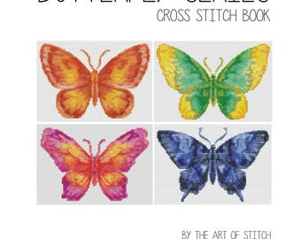 Cross Stitch Pattern PRINTED Set Butterfly Series, Cross Stitch (Book05)