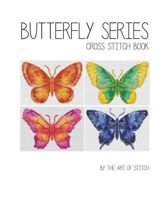 Cross Stitch Pattern PRINTED Set Butterfly Series - Cross Stitch (Book05)