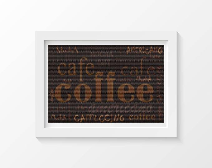 Cross Stitch Pattern PDF, Embroidery Chart, Art Cross Stitch, Coffee Menu (ART032)