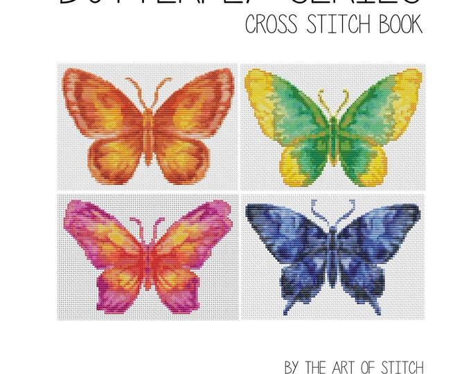 Cross Stitch Pattern PRINTED Set Butterfly Series, Cross Stitch (Book05)