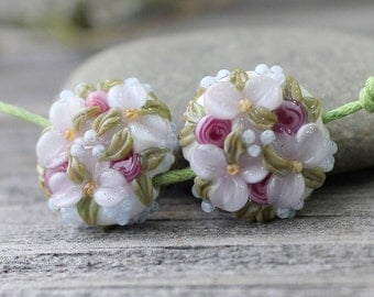 Lampwork Flower Beads, Set of 2 pc Flower Beads, Glass Flower Beads, Flower Beads, Lampwork Beads, Glass Beads
