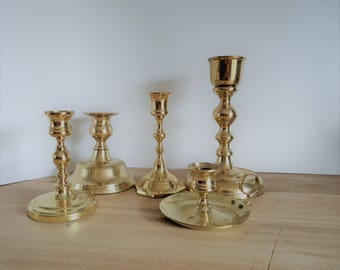 vintage brass candle holders, 5 candlesticks, solid brass candleholder, wedding centerpiece, haunted house props, brass collection