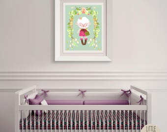 Stacey Sheep – a printable sheep wall art poster with a beautiful flowered wreath.  Perfect for a hipster, woodland nursery.