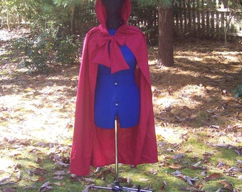 Red Hooded Capelet - Red Hooded Cloak - Red Halloween Cape - Medieval Cloak - Pixie Hoodie Cape - Harry Potter Cape - Little Red Riding Hood