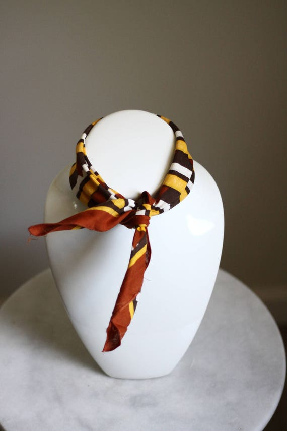1970s brown stripe scarf // vintage cotton bandana // vintage neck scarf