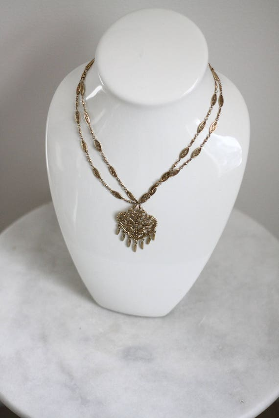 1970s gold two chain // 1970s gold necklace // vintage jewlery