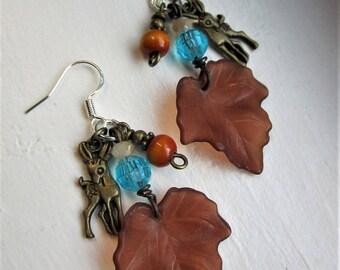 Maple Leaf + Deer Charm Beaded Dangle Earrings